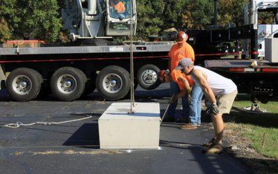 Cement ballast blocks installation for a solar array
